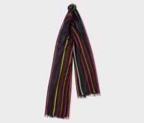Black 'Spring Stripe' Silk-Blend Scarf