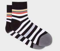 Black And White Stripe Cycling Socks