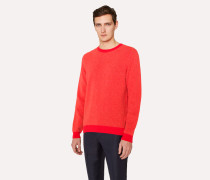 Coral Lambswool Sweater With Contrast Trims