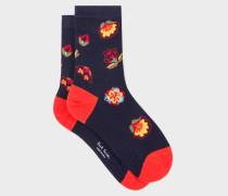 Navy 'Kyoto Floral' Socks