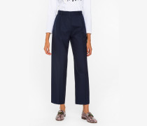 Regular-Fit Navy Pleated Wool-Hopsack Trousers