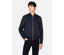 Navy Cotton-Blend Wadded Bomber Jacket