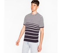 Navy And White Gradient Stripe Short-Sleeve Cotton Sweater