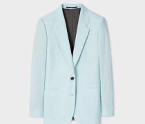 Turquoise Two-Button Wool-Mohair Blazer