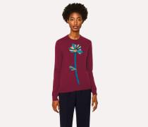 Burgundy Floral Appliqué Cashmere Sweater