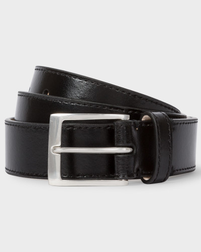 Black Leather Belt With 'Naked Lady' Interior Print