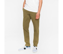 Tapered-Fit Khaki Garment-Dyed Pima-Cotton Stretch Chinos