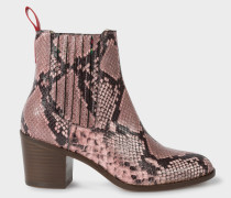 Pink Snake-Effect Leather 'Shelby' Boots