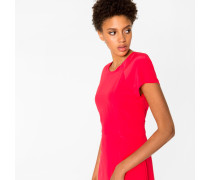 Bright Red Silk Dress With Pleat Detailing