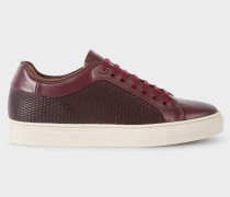 Burgundy Mesh-Effect Leather 'Basso' Trainers