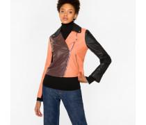 Colour-Block Leather Biker Jacket