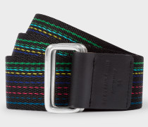 'Cycle Stripe' Stitching Canvas Double Buckle Belt