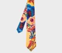 Yellow 'Ocean' Print Silk Tie