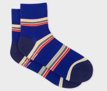 Indigo Block-Stripe Cycling Socks