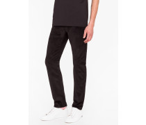 Tapered-Fit Black Stretch-Cotton Corduroy Trousers