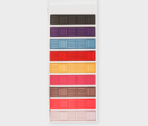 Multi-Coloured Basket Weave Stripe Money Clip