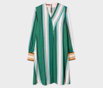 Green Multi-Coloured Stripe V-Neck Dress