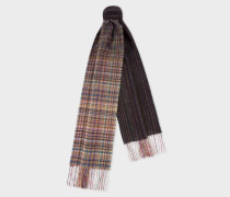 Mixed Signature Stripe And Check Wool Scarf