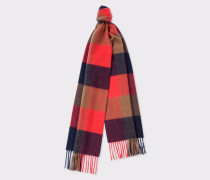 Scarlet Red Check Pattern Cashmere Scarf