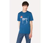Blue 'Skeleton Dot' Print Cotton T-Shirt