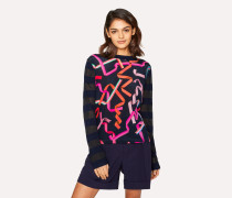 Navy 'Ribbon' Print Knitted Sweater