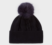 Black Cable Knit Bobble Hat