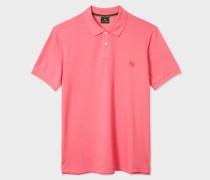 Pink Embroidered Zebra Outline Organic Cotton-Piqué Polo Shirt