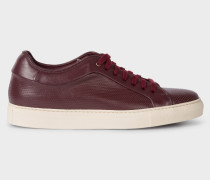 Burgundy Perforated Leather 'Basso' Trainers