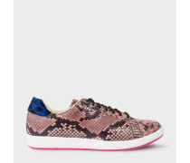 Pink Snake-Effect Leather 'Lapin' Trainers