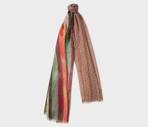Mixed-Stripe Polka Dot Wool-Blend Scarf