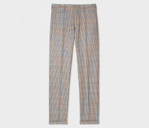 Slim-Fit Tan Check Wool And Silk Blend Trousers
