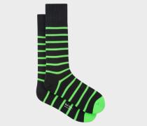 Black Neon Green Stripe Socks