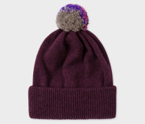 Plum Lambswool Knitted Bobble Hat