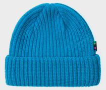 Neon Blue Wool Beanie Hat