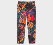 Black 'Ocean' Print Stretch-Cotton Trousers