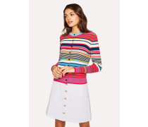 Multi-Coloured Stripe Knitted Cotton Cardigan