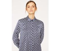 Navy Polka Dot Pleat-Front Shirt Dress