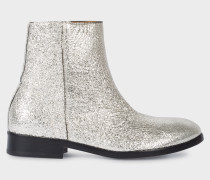 Metallic Silver Leather 'Brooklyn' Boots