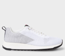 White And Silver 'Rappid' Knitted Trainers