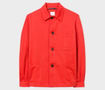 Red Linen-Blend Chore Jacket