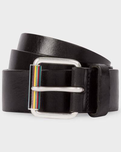 Black Leather Belt With Signature Stripe Roller