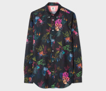 Tailored-Fit 'Underwater Floral' Print Cotton-Linen Shirt