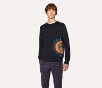 Slim-Fit Navy Loopback-Cotton Sweatshirt With 'Sun' Motif