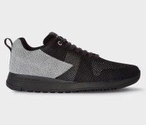Black And Reflective Grey 'Rappid' Knitted Trainers