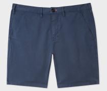 Navy Garment-Dyed Stretch Pima-Cotton Shorts
