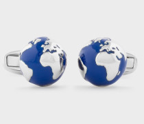Navy and Silver Globe Cufflinks