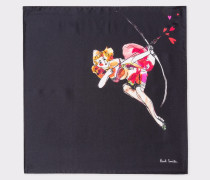 Black 'Lady' Print Silk Pocket Square