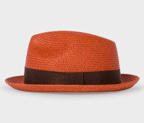 Burnt Orange Panama Straw Hat