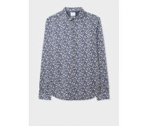 Slim-Fit Navy 'Floral Leaves' Print Cotton Shirt