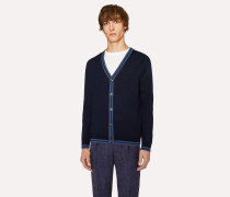 Navy Merino Wool Cardigan With Contrast Trims